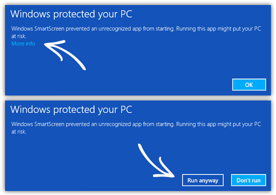 "If you get a ""Windows protected your PC"" message, select ""More info"", then on the next screen select ""Run anyway. Click HERE to continue to the ARCHIVES page."